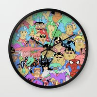 it crowd Wall Clocks featuring Crowd by Joseph Falzon