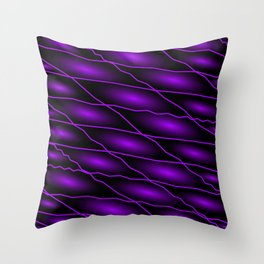Slanting repetitive lines and rhombuses on dark violet with intersection of glare. Throw Pillow