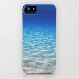 Underwater Blue Ocean, Sandy sea bottom Underwater background iPhone Case