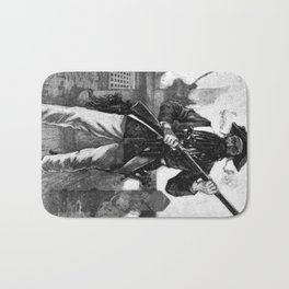 Blackbeard at attention with rifle Bath Mat