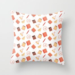Colorful school pattern Throw Pillow