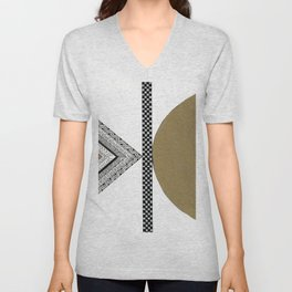 Geometric Shapes with Gold, Copper and Silver Unisex V-Neck