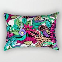 Girly Vibrant Flower Garden Illustrated Drawings Rectangular Pillow