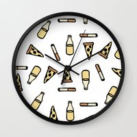 cigarettes Wall Clocks featuring PIZZA, BEER, CIGARETTES by STUPIDGUMMIDREAMS