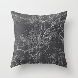 Stuttgart Map, Germany - Gray Throw Pillow