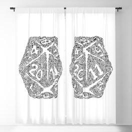d20 - black and white icosahedron - automatic art pattern and print Blackout Curtain