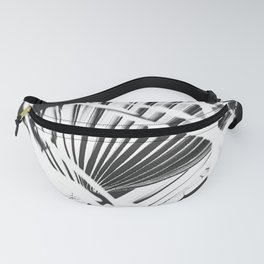 palm tree leaves - black and white plant pattern Fanny Pack