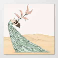 Pastel Dancer With Leafs & Feathers - Art Print/ Wall Décor / Wall Art Canvas Print