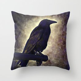 Black Raven of Peace Throw Pillow