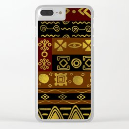 Ethnic African Golden Pattern on black and brown Clear iPhone Case