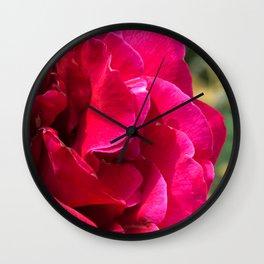 1950's Lipstick Red-Magenta Flower Close-Up Wall Clock