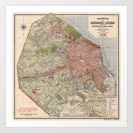 Map Of Buenos Aires 1912 Art Print