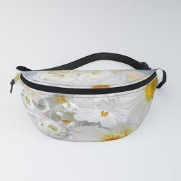 White Floral Bouquet Mixed Flower Pattern Fanny Pack
