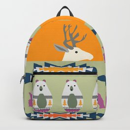 Colorful Christmas pattern with deer and bears Backpack