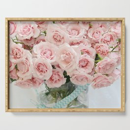 Shabby Chic Cottage Pink Roses Afternoon Tea Still Life Floral Print Home Decor Serving Tray