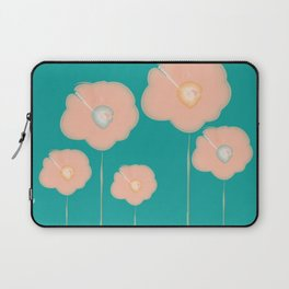 Poppies - pink and teal Laptop Sleeve