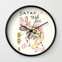 satan Wall Clocks featuring Satan Take Me by Nü Köza