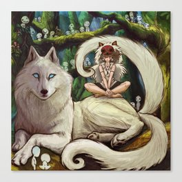 Wolf Princess in the Forest Canvas Print