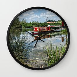 Moored on the Avon At Tewkesbury Wall Clock