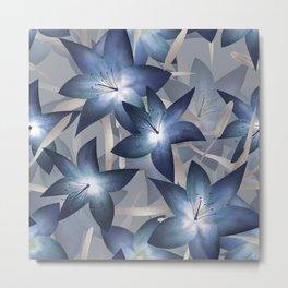 Blue lilies. Lily Metal Print