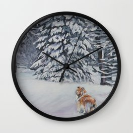 Beautiful Rough Collie Dog in the Snow Painting from an original painting by L.A.Shepard Wall Clock