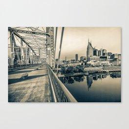 Nashville Skyline - Shelby Street Bridge View in Sepia Canvas Print