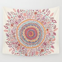 mandala Wall Tapestries featuring Sunflower Mandala by Janet Broxon