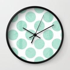 Mint Polka Dot Wall Clock