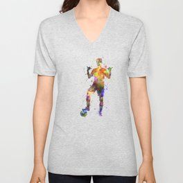 soccer football player young man saluting Unisex V-Neck