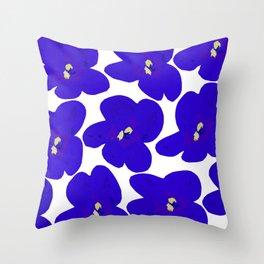 Blue Retro Flowers #decor #society6 #buyart Throw Pillow