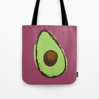 avocado Tote Bags featuring avocado  by Marzipan