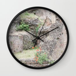 Poppies in Ancient Rome, Italy Wall Clock