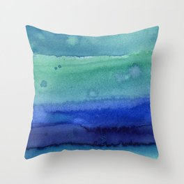 Abstract Blue Horizontal Stripes Watercolor Texture Throw Pillow