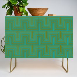 Doors & corners op art pattern in olive green and aqua blue Credenza