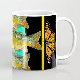 MODERN  MONARCH BUTTERFLIES FISH BLACK  AQUATIC  COLLAGE Coffee Mug