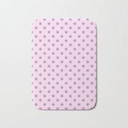 Black on Pink Lace Pink Snowflakes Bath Mat