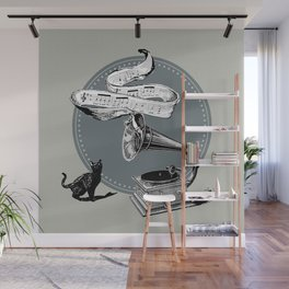 The Cat and the Song Cat (black and white) Wall Mural