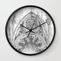 gothic Wall Clocks featuring gothic by Tereza Del Pilar