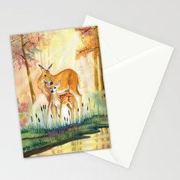 Mom and Little Deer Stationery Cards