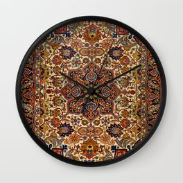 Persia Tabriz 19th Century Authentic Colorful Blue Red Yellow Vintage Patterns Wall Clock