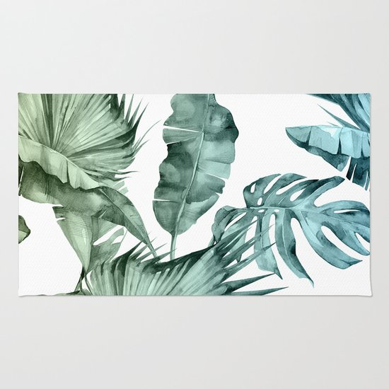 Tropical Palm Leaves Turquoise Green Blue Gradient Rug By