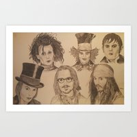 johnny depp Art Prints featuring Johnny Depp by Virginieferreux