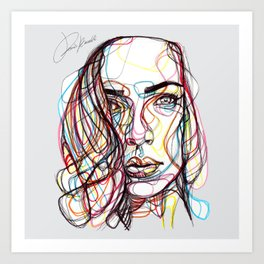 portrait style line - ritratto in stile linee colorate - lignes style portrait couleur Art Print