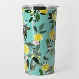 Summer Lemon Floral Travel Mug