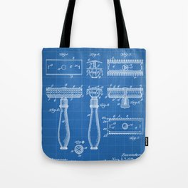 Razor Patent - Barber Art - Blueprint Tote Bag