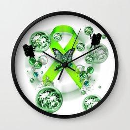 Green Ribbon - Mental Illness Awareness Wall Clock