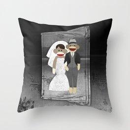 Sock Monkey Wedding Throw Pillow