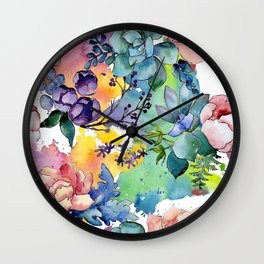 Watercolor Floral Flower Colorful Print Pattern Wall Clock