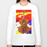 cello Long Sleeve T-shirts featuring Mellow Cello by Brian Raggatt