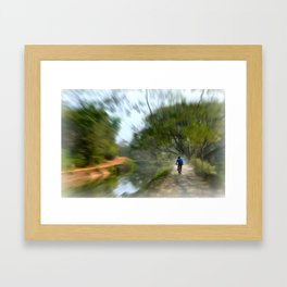 Epic Shot Cycling The Canal Route In Kerala, India Framed Art Print